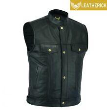 Men Sons of Anarchy Biker Leather Waistcoat Top Grain Black SOA Cut off Vest UK