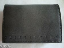 NWT MENS SURF QUIKSILVER BLACK GRADIENT LEATHER TRI-FOLD WALLET GIFT BOX NEW