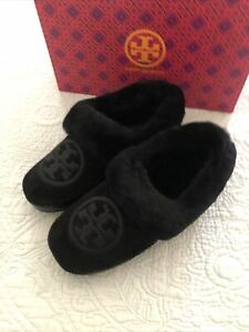 Tory Burch Coley Slippers 2 Nat Suede Shearling Leather Black Size 7 New in Box