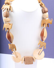 Natural Wooden Handmade Bead Necklace, Vintage 1960s