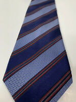ERMENEGILDO ZEGNA 100% Silk Necktie Blue Red Circles Stripes Tie 59L 3-1/2W