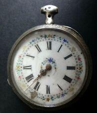 Ancienne montre gousset argent silver clock huit rubis cylindre
