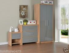 Grey Gloss 1 Drawer Bedside chest, 3 Drawer Chest, 2 Door Wardrobe SYLVIA