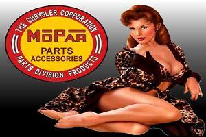 CHRYSLER Mopar Pinup Girl Man Cave SIGN 4x6 magnet Fridge REFRIGERATOR Tool Shop