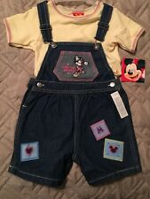 New Girls Mickey Mouse by Disney Childrens Denim Blue Shorts Set Size 4T
