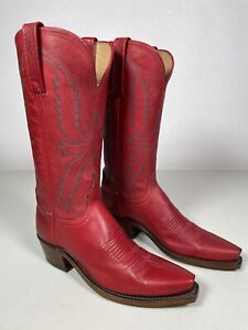 Women's Lucchese Boots Savannah Red Genuine Leather Handmade Size 10 N4873.54