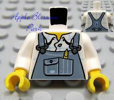 NEW Lego Boy Minifig FARMER TORSO White Shirt Sand Blue Pocket Farm Overall Bibs