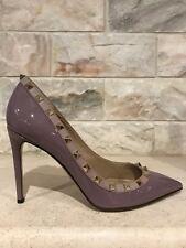 NIB Valentino Rockstud Purple Mauve Patent Nude Stud Classic Heel Pump 39 $825