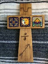 WaLL CRoSS ReCLaiMEd WooD MeXiCO TaLaVeRa TiLe HaNdMaDe RuSTic CaRVeD SuN MooN
