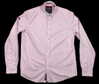SUPERDRY | Men's LS Button Shirt | Regular Fit | Pink White Stripes | Size L