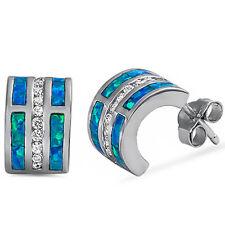 Blue Opal & Cz C-Shape Huggie Hoop .925 Sterling Silver Earrings