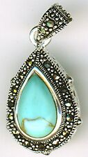 925 Sterling Silver Turquoise & Marcasite double Sided Pendant   35mm x 17mm