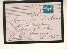 France 1911 mouning cover Paris to Jean Drahonnet Winnipeg Manitoba Canada