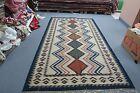 Vintage but New Russian Hand Woven Wool Kilim Rug Ethnic Folk Art 5'11 x 8'10
