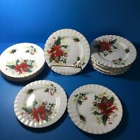 """ROYAL ALBERT POINSETTIA BREAD AND BUTTER PLATES - 6 1/4"""""""