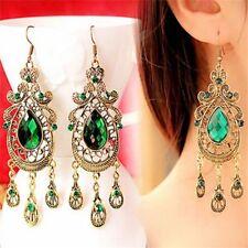 Large Green Party Long Geometric Pattern Water Drop Crystal Earrings Women