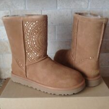 UGG Classic Short Perf Chestnut / Metallic Suede Boots Size US 10 Womens