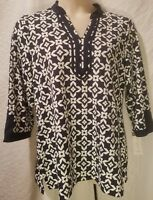 CHARTER CLUB Women Plus 1X White & Navy Blue V Neck Print 3/4 Sleeve Top Blouse