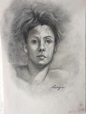 Jennie Lenzi original vintage charcoal Life Drawing of female