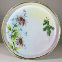 """Antique Nippon Morimura Japan Hand Painted Floral Gold Round Dresser Tray 7"""" EXC"""