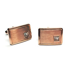 Curved Rose Gold Plated Classic Mens Gift for Him Cufflinks With Crystal