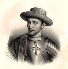 Grand Portrait de Charles VII - Lithographie originale XIXème