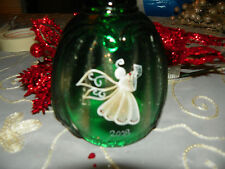 Fenton Art Glass Bell, No. 7566 GC, New, Green with Angel. Hand Paintef J. A.
