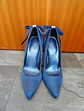 New Look navy satin pointed toe court shoes UK 7 worn once