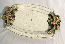 Fitz & Floyd Snowy Woods 15�x10� Oval Platter Ivory Gold Holly Bows Berries