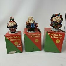Crinkle Claus Vintage Lot Of 3 Christmas Decorations Santa Clause Fireman Lawyer