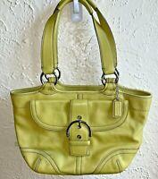 COACH Soho Handbag Green Leather Shoulder Bag Front Buckle Flap No G043-9637