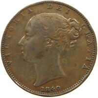 GREAT BRITAIN FARTHING 1840 VICTORIA #t73 381