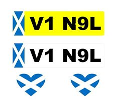 2 x Number Plate Stickers Scotland Flag + 2 x Heart  Flags (I Love Scotland)