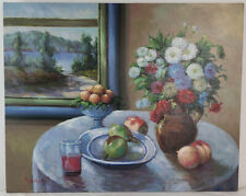 "Oil Painting on Canvas Still Life Tabletop Unframed Art HomeDeco (24"" x 30"")"