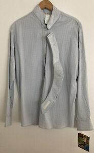 New Devon Aire English Horse Blue Long Sleeve Show Shirt w/ Choker Woman's 38 R