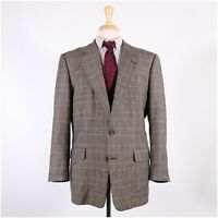 Hickey Freeman Mahogany 44R Gray Check Wool Two Button Sport Coat Blazer Jacket