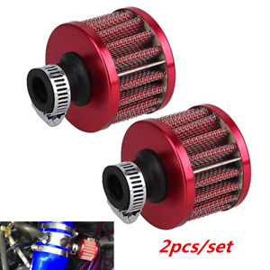 Red 2pcs 12mm Mini Cone Car Racing Turbo Air Intake Crank Case Breather Filter