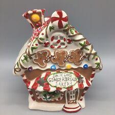 Blue Sky Clayworks Dancing Gingerbread Bakery Tea Light Christmas Village House