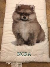 "NEW Pottery Barn Teen Party Dogs Sleeping Bag POMERANIAN White Monogram ""Nora"""