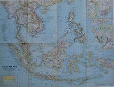 1961 Map Southeast Asia Vietnam Cambodia Laos Philippines Indonesia Saigon Hanoi