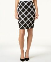 Alfani Womens Printed Pencil Skirt Deep Black Piece Plaid Size 6