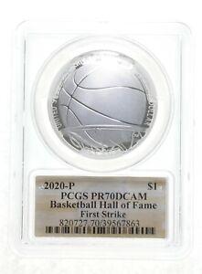 2020-P PR70 PCGS Basketball HOF Commemorative Silver Dollar $1 1st Strike