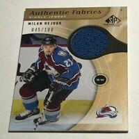 Milan Hejduk /100 made SP Fabrics Gold Insert Parallel Hockey Card Avalanche