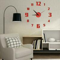 3D Wall Clock Design Large Acrylic Mirror Clocks Stickers Room Living Décor H5V2
