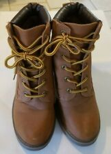 """Dirty Laundry Size 9 Boots Tan Yellow Lace Up Some Wear 3.5"""" Heels Block Heel"""