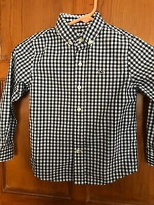 Vineyard Vines Boys Button Up Whale Shirt 5 Navy/White Gingham Check Barely Worn