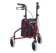 Ultra Lightweight Folding Aluminium Tri Walker Height Adjustable Brakes Red