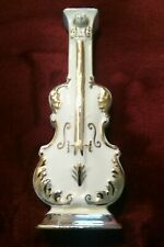 Vintage Goldra Ivory Gold Gilt Violin Wall Pocket Flower Vase