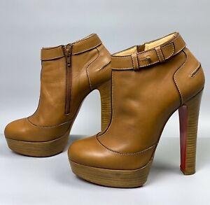 CHRISTIAN LOUBOUTIN Ankle Boots Size 39 Beige Brown Leather D'UN Plato 140 Shoes
