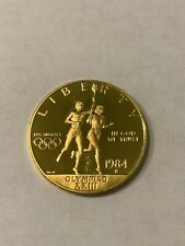 1984 S PROOF OLYMPIC $10 COMMEMORATIVE GOLD COIN AS ISSUED BOX/COA